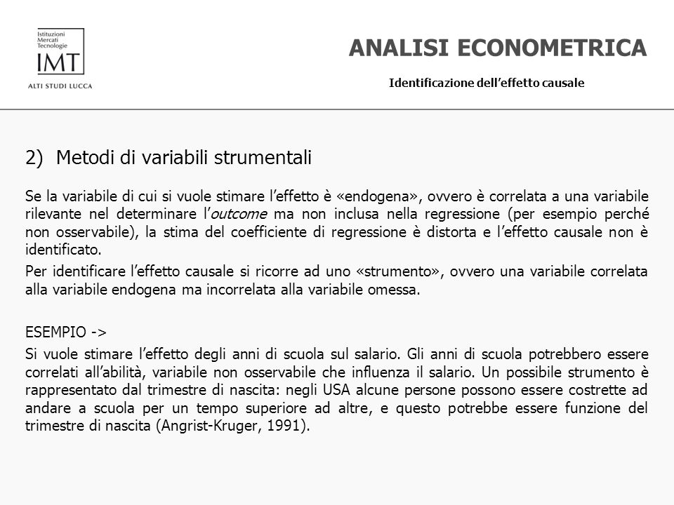 ANALISI ECONOMETRICA 2) Metodi di variabili strumentali