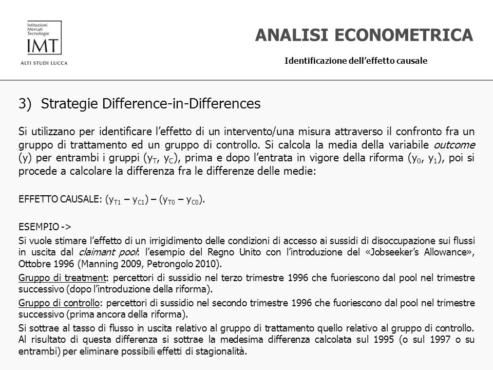 ANALISI ECONOMETRICA 3) Strategie Difference-in-Differences