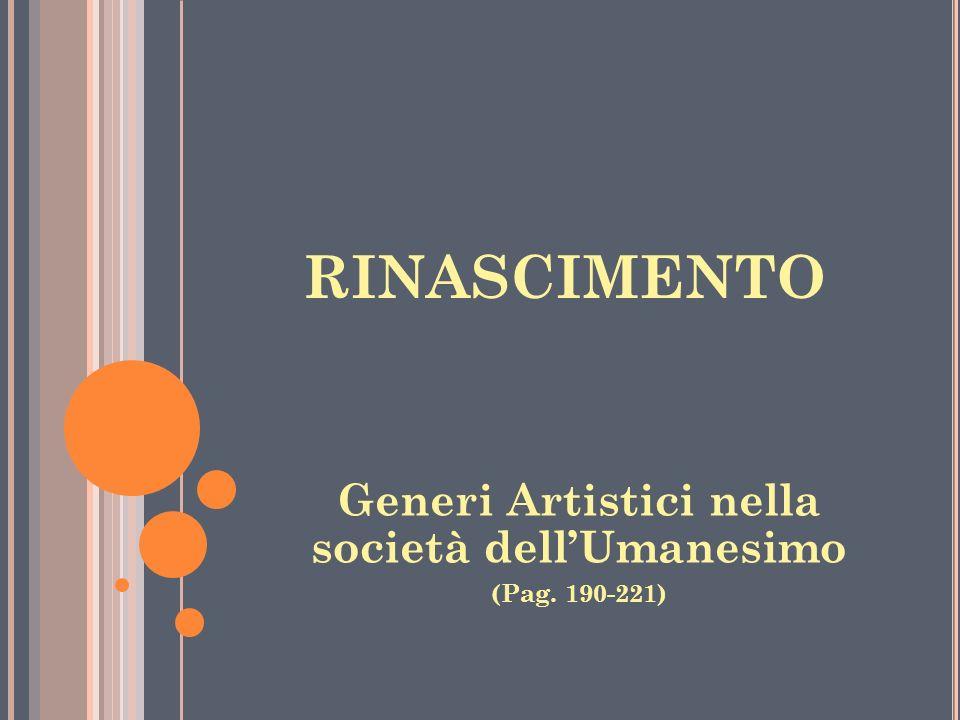 Generi Artistici nella società dell'Umanesimo