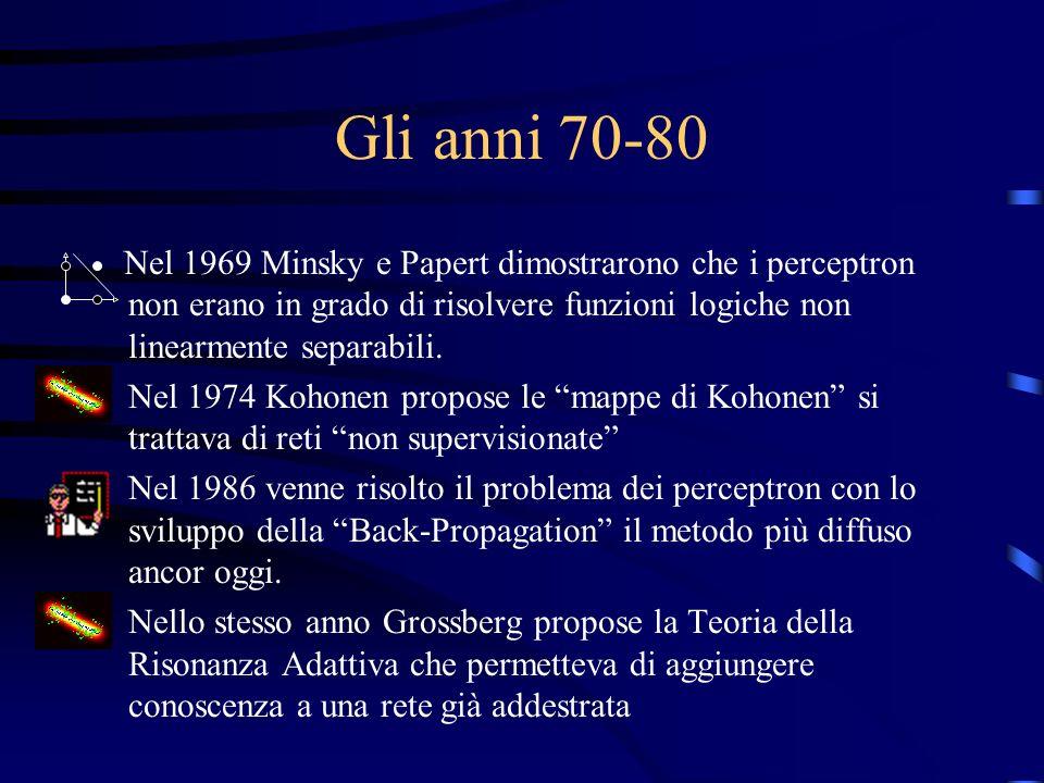 Gli anni 70-80 Nel 1969 Minsky e Papert dimostrarono che i perceptron non erano in grado di risolvere funzioni logiche non linearmente separabili.