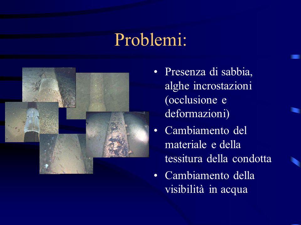 Problemi: Presenza di sabbia, alghe incrostazioni (occlusione e deformazioni) Cambiamento del materiale e della tessitura della condotta.