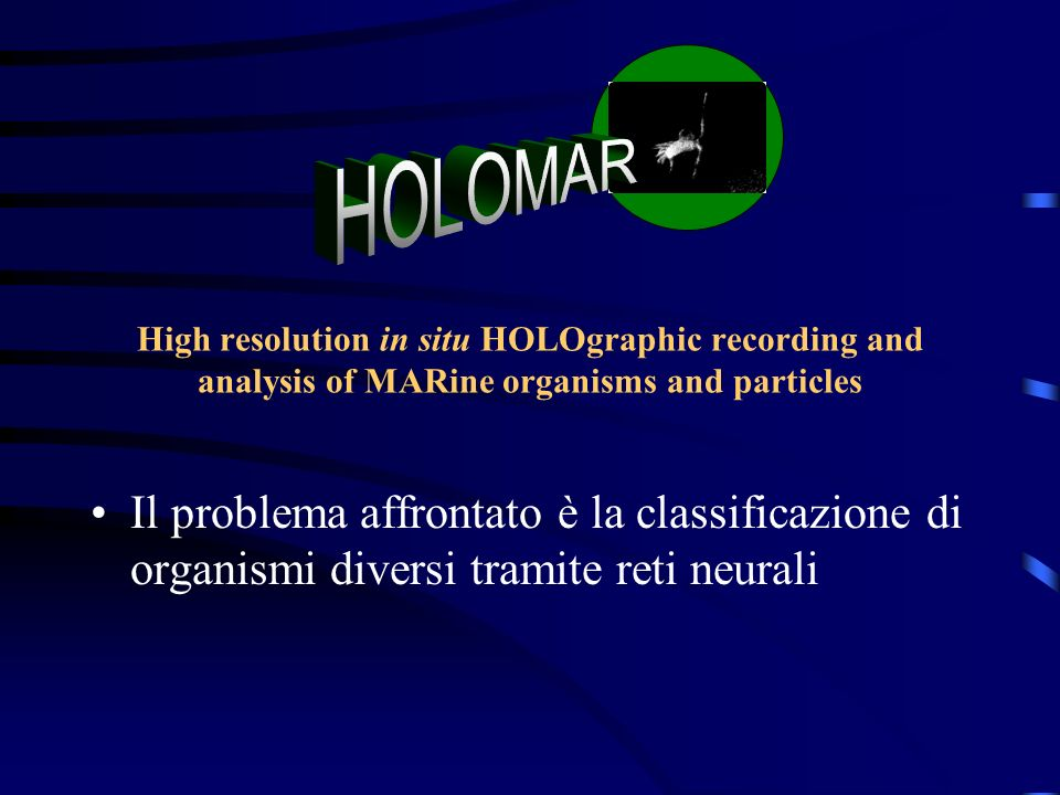 HOLOMAR High resolution in situ HOLOgraphic recording and analysis of MARine organisms and particles.