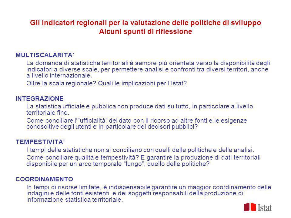 Gli indicatori regionali per la valutazione delle politiche di sviluppo Alcuni spunti di riflessione