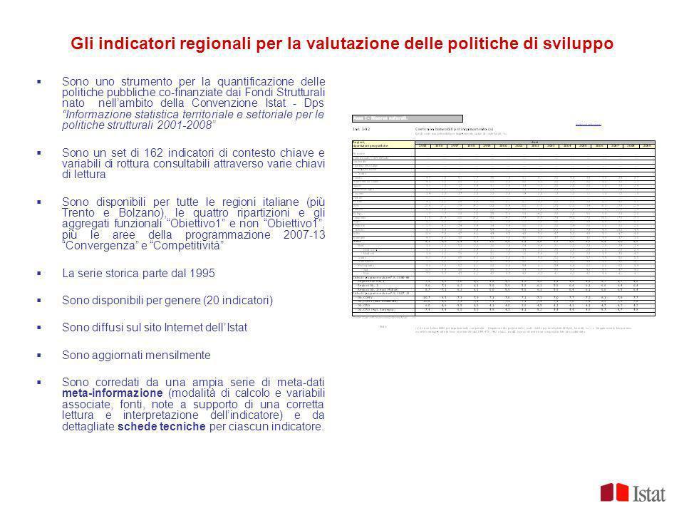 Gli indicatori regionali per la valutazione delle politiche di sviluppo