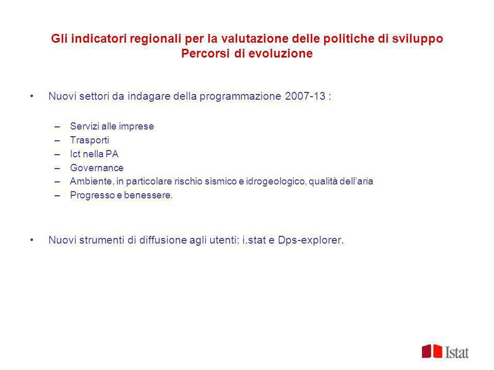 Gli indicatori regionali per la valutazione delle politiche di sviluppo Percorsi di evoluzione
