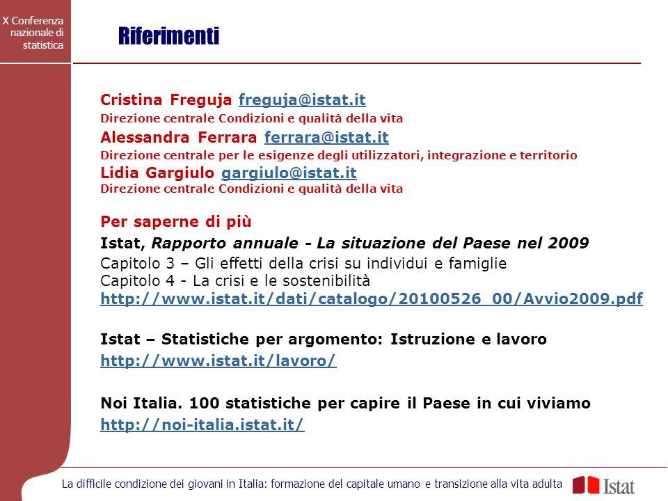 Riferimenti Cristina Freguja freguja@istat.it