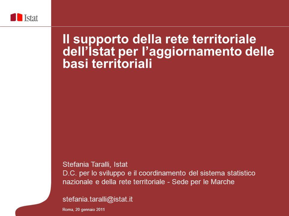 Il supporto della rete territoriale dell'Istat per l'aggiornamento delle basi territoriali
