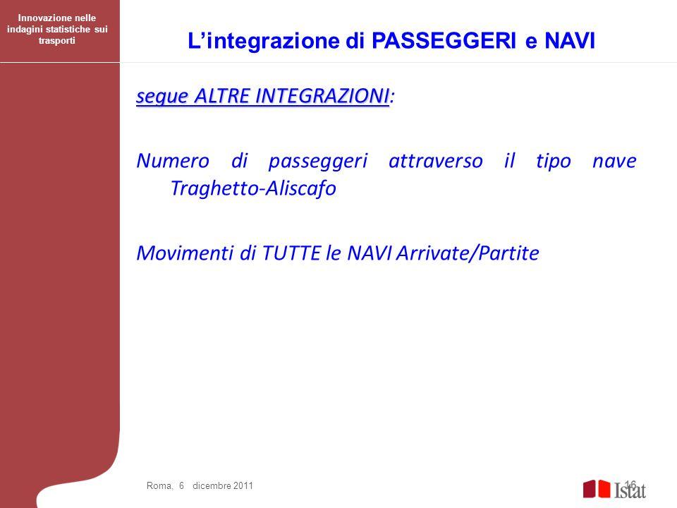L'integrazione di PASSEGGERI e NAVI