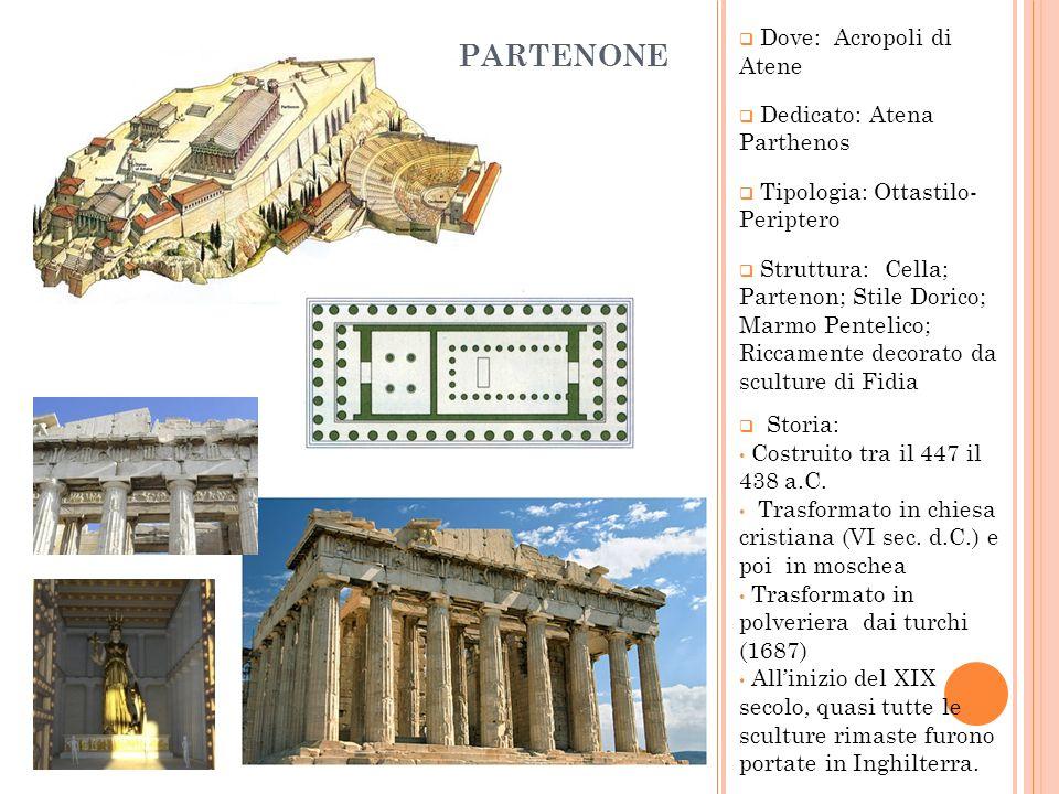 PARTENONE Dove: Acropoli di Atene Dedicato: Atena Parthenos