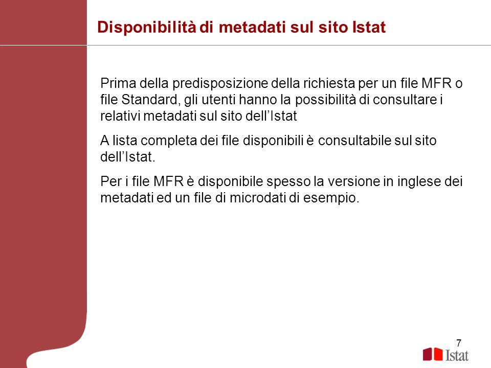 Disponibilità di metadati sul sito Istat