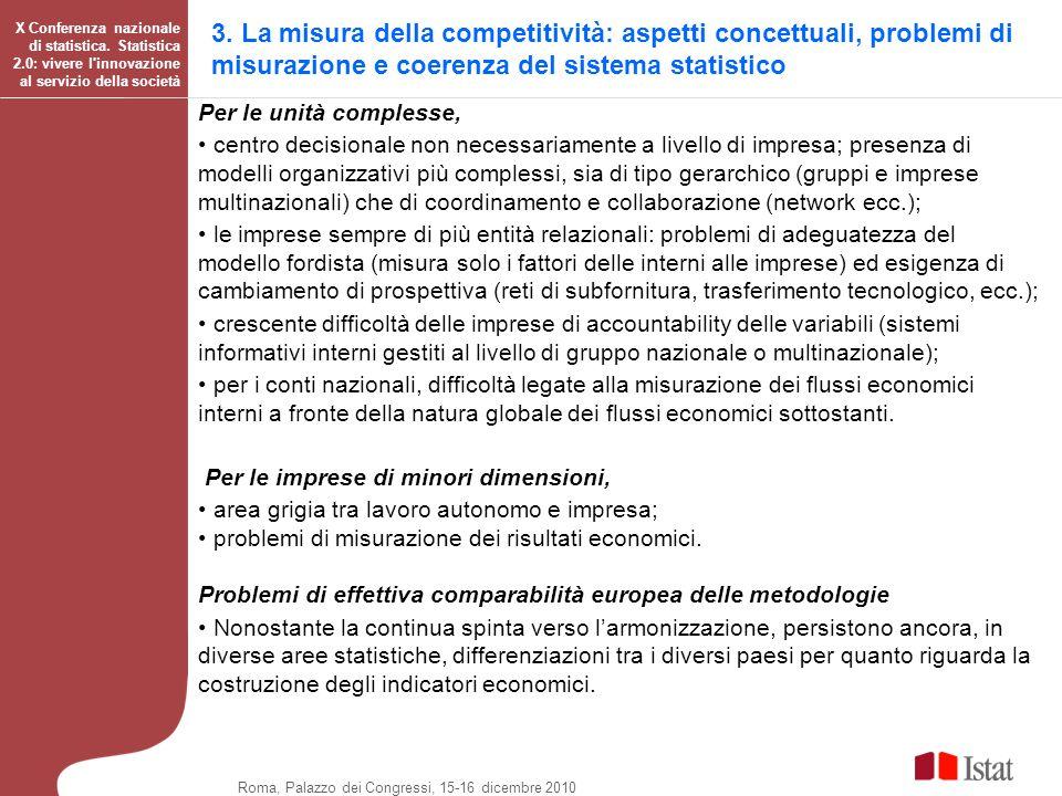 3. La misura della competitività: aspetti concettuali, problemi di misurazione e coerenza del sistema statistico