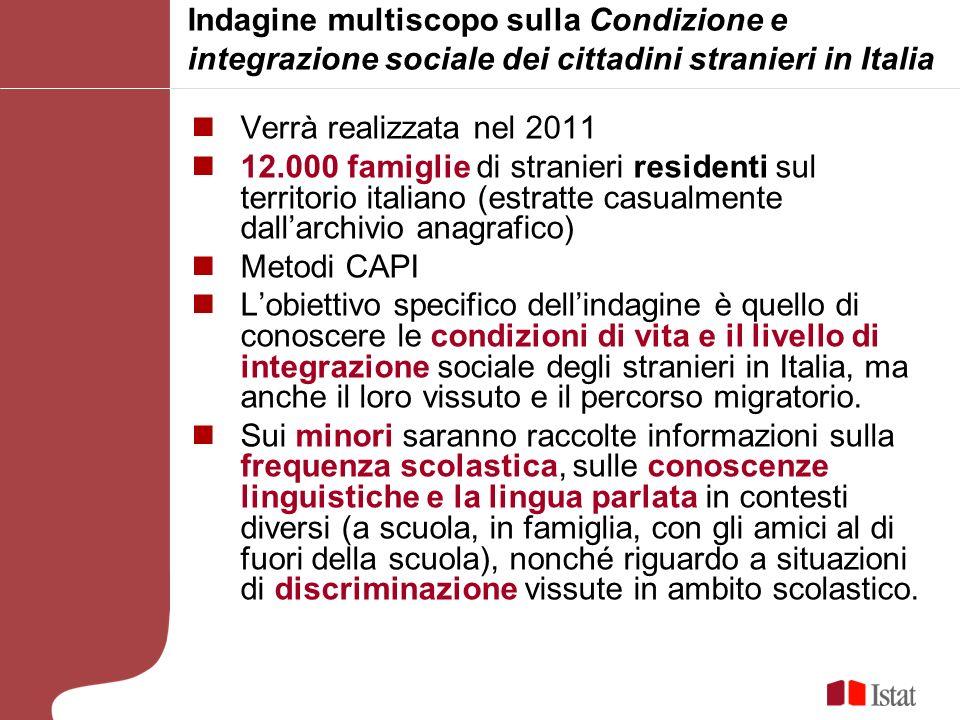 Indagine multiscopo sulla Condizione e integrazione sociale dei cittadini stranieri in Italia