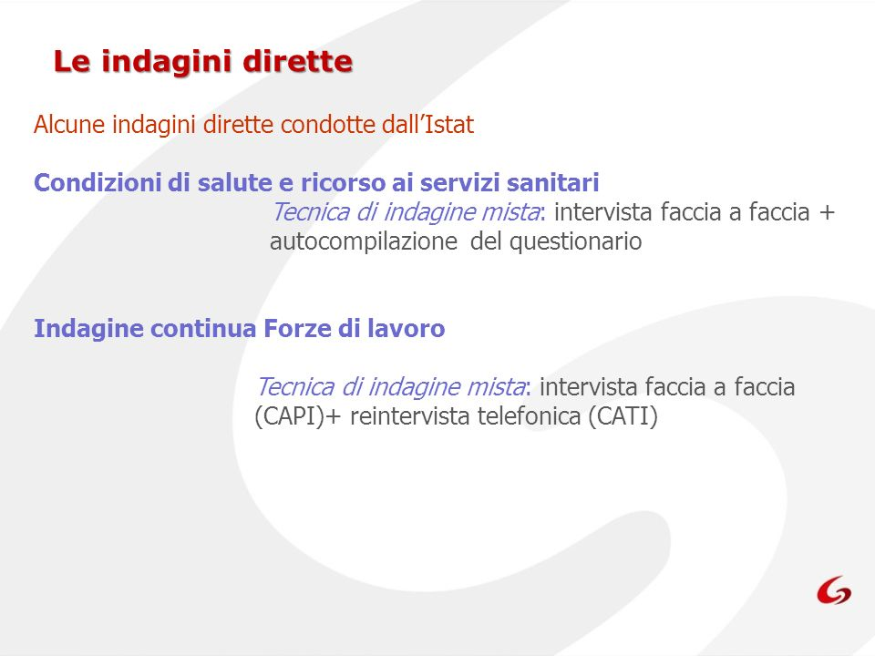 Le indagini dirette Alcune indagini dirette condotte dall'Istat