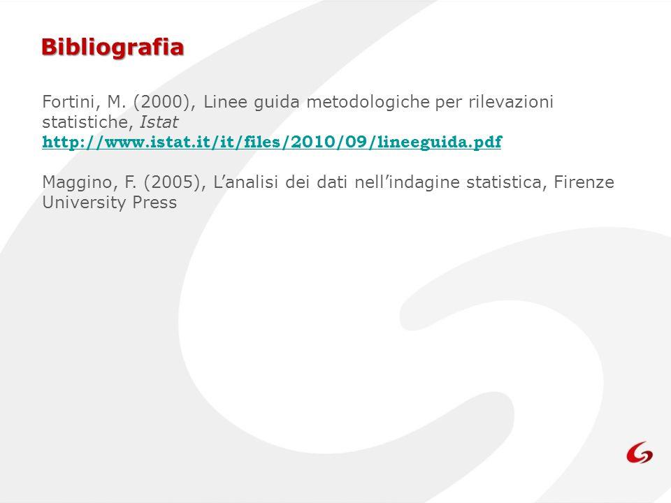 Bibliografia Fortini, M. (2000), Linee guida metodologiche per rilevazioni statistiche, Istat. http://www.istat.it/it/files/2010/09/lineeguida.pdf.