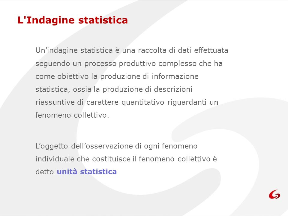 L Indagine statistica