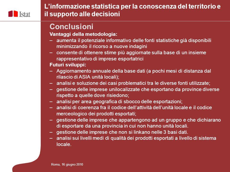 L'informazione statistica per la conoscenza del territorio e il supporto alle decisioni