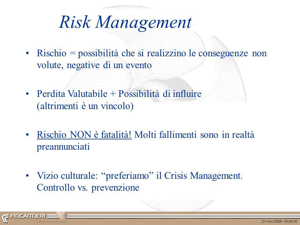 Risk Management Rischio = possibilità che si realizzino le conseguenze non volute, negative di un evento.