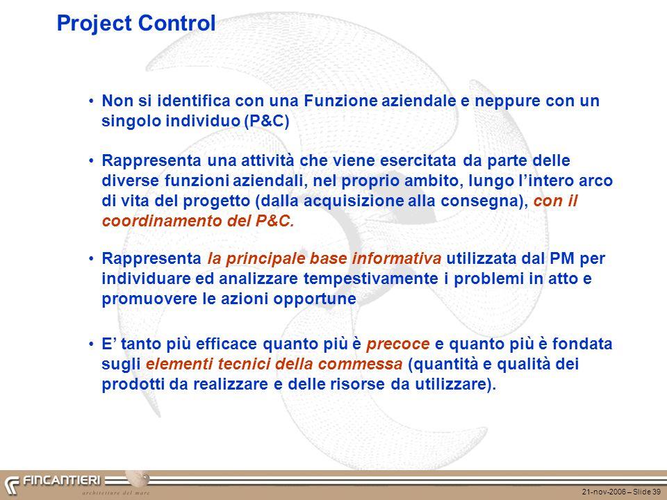 Project Control Non si identifica con una Funzione aziendale e neppure con un singolo individuo (P&C)