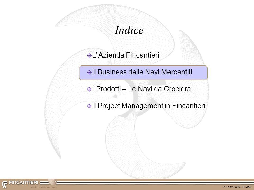 Indice L' Azienda Fincantieri Il Business delle Navi Mercantili