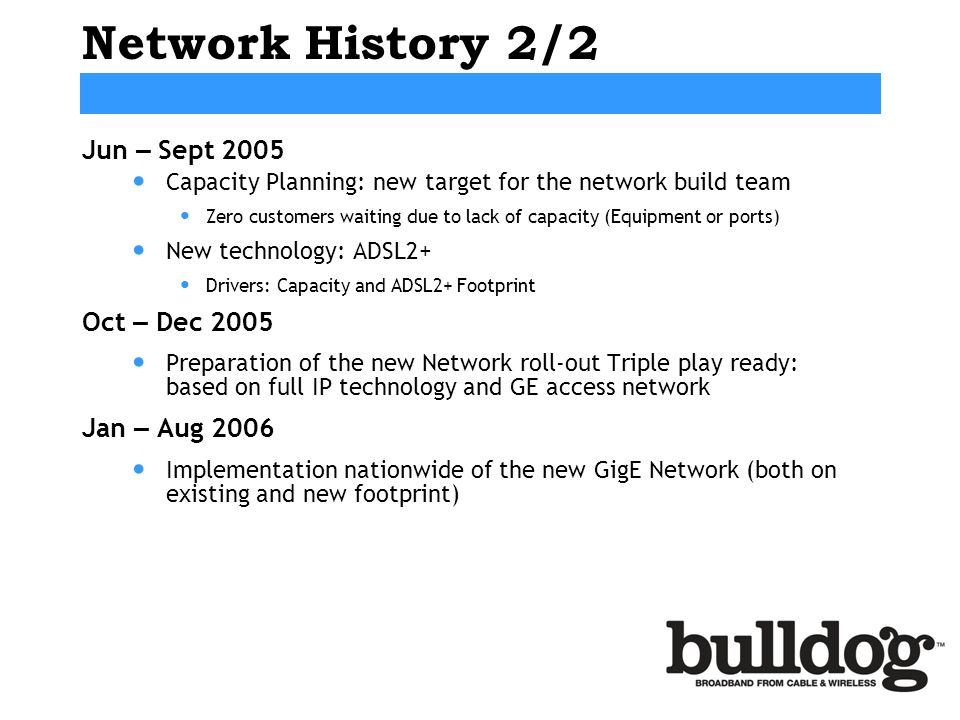 Network History 2/2 Jun – Sept 2005 Oct – Dec 2005 Jan – Aug 2006