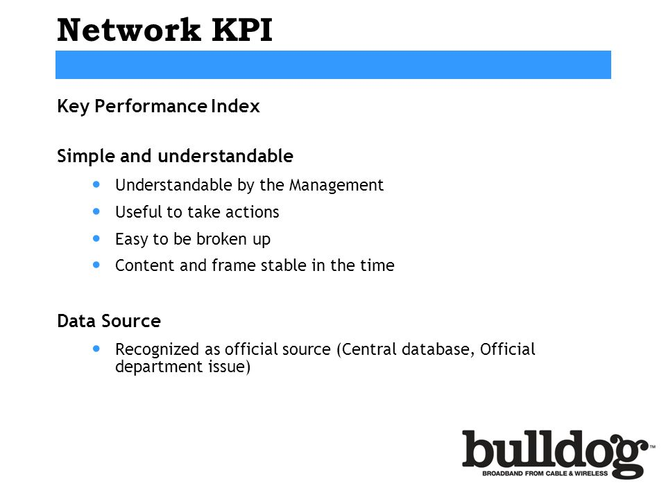 Network KPI Key Performance Index Simple and understandable