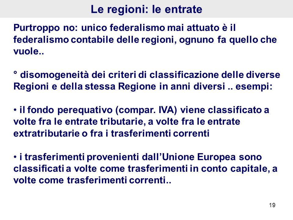 Le regioni: le entrate Purtroppo no: unico federalismo mai attuato è il federalismo contabile delle regioni, ognuno fa quello che vuole..