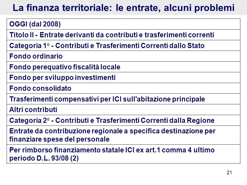 La finanza territoriale: le entrate, alcuni problemi