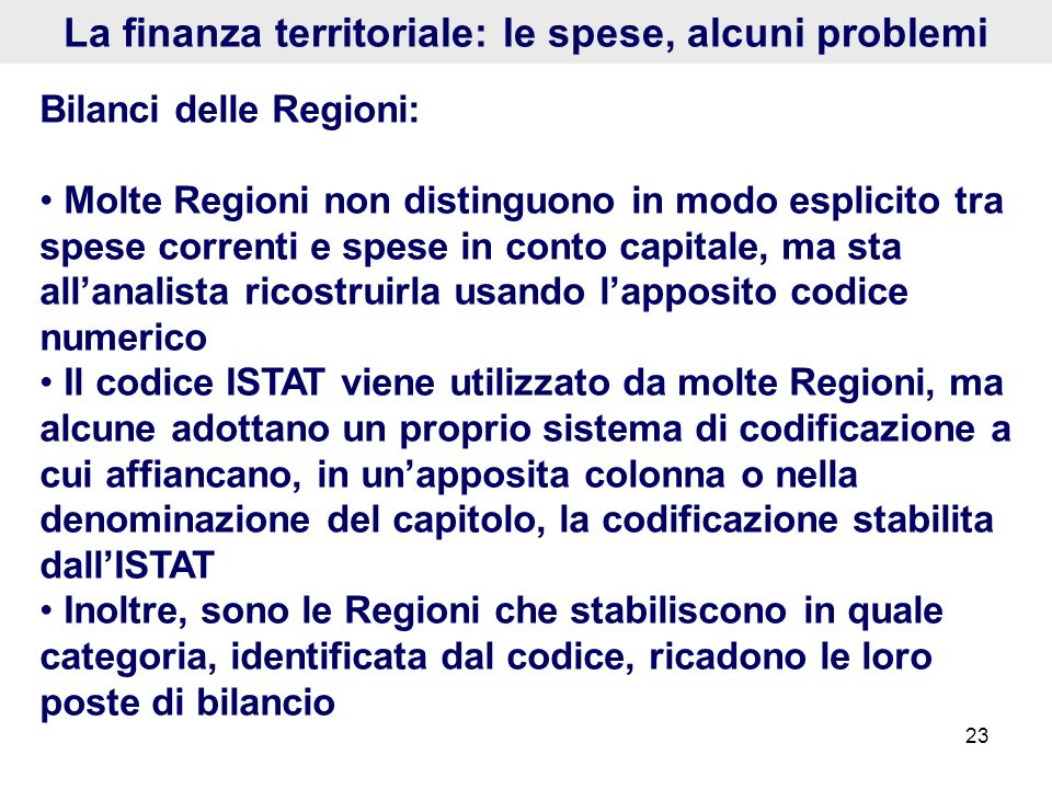 La finanza territoriale: le spese, alcuni problemi