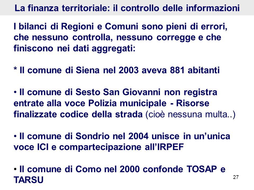 La finanza territoriale: il controllo delle informazioni