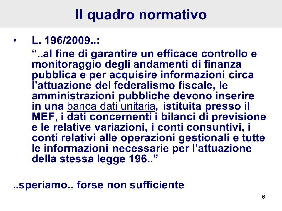 Il quadro normativo L. 196/2009..: