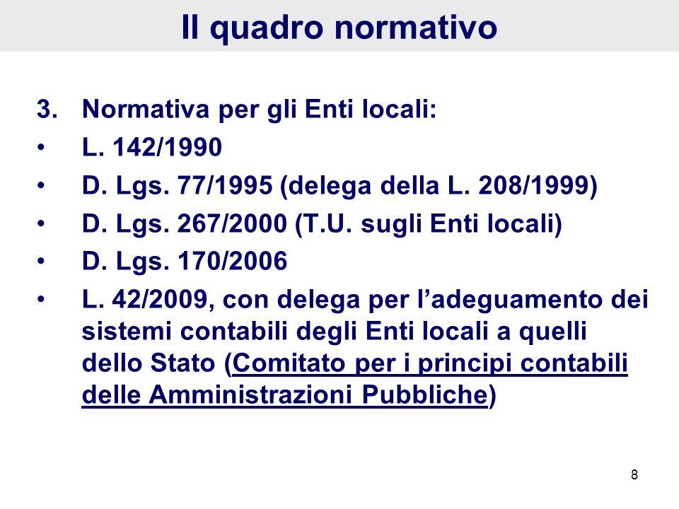 Il quadro normativo 3. Normativa per gli Enti locali: L. 142/1990