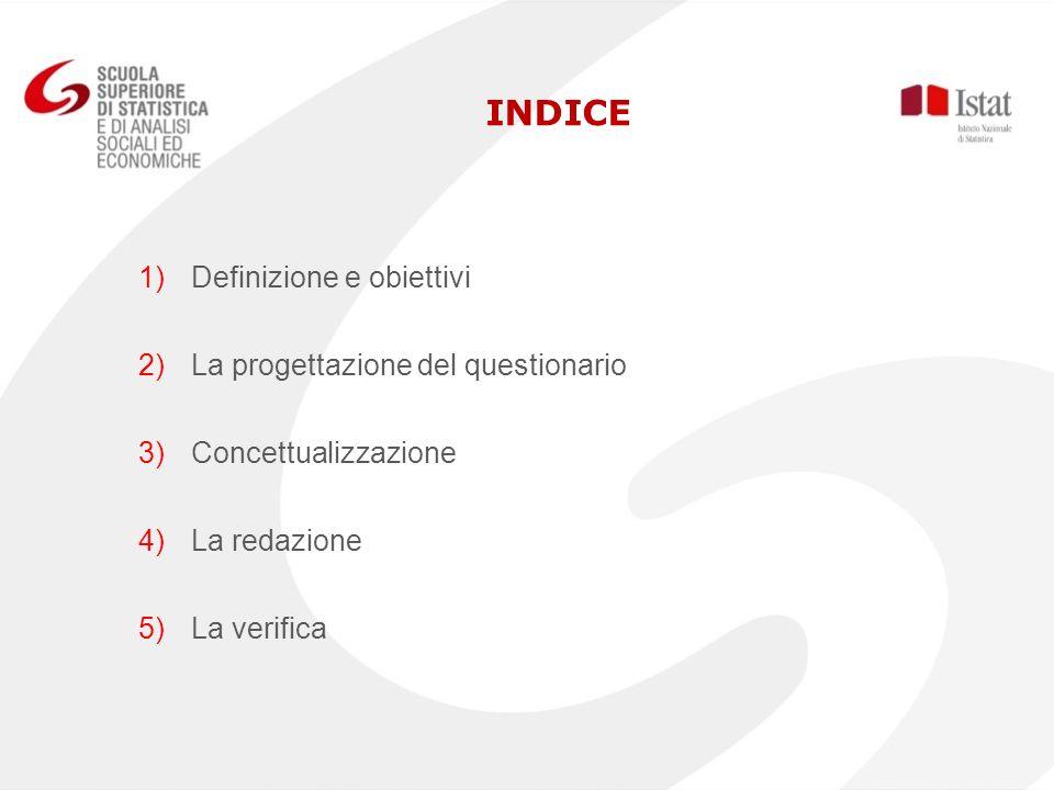 INDICE Definizione e obiettivi La progettazione del questionario