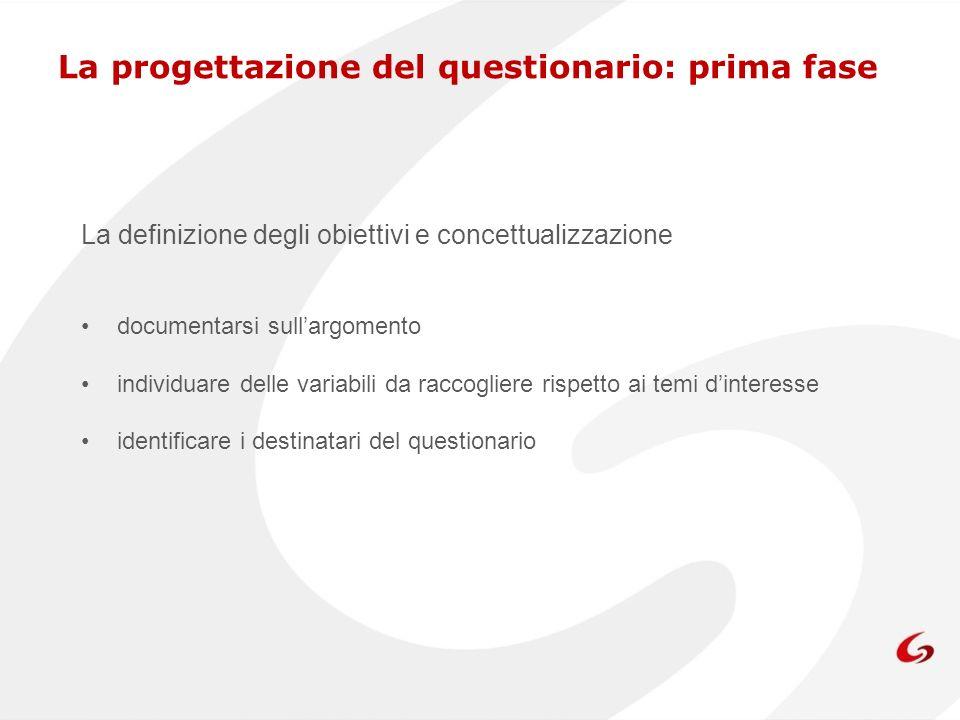 La progettazione del questionario: prima fase