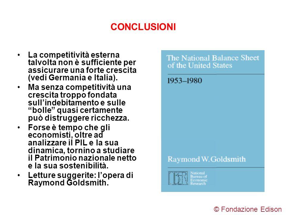 CONCLUSIONI La competitività esterna talvolta non è sufficiente per assicurare una forte crescita (vedi Germania e Italia).