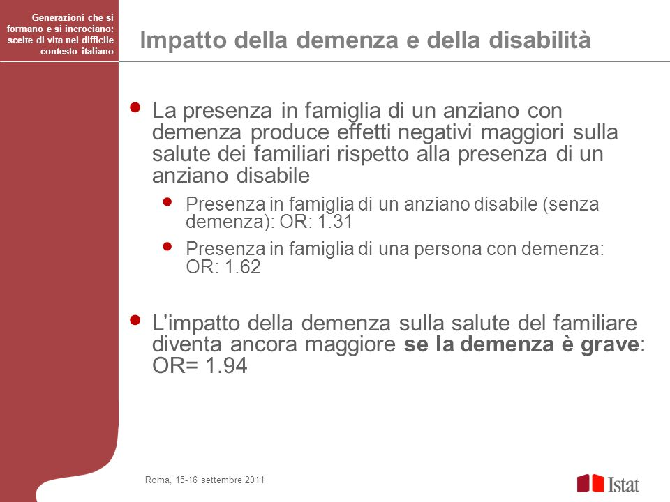 Impatto della demenza e della disabilità
