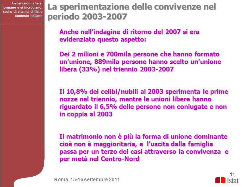 La sperimentazione delle convivenze nel periodo 2003-2007