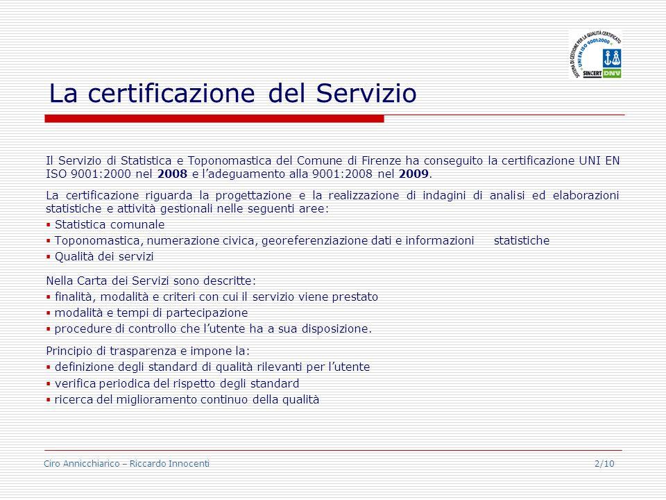 La certificazione del Servizio