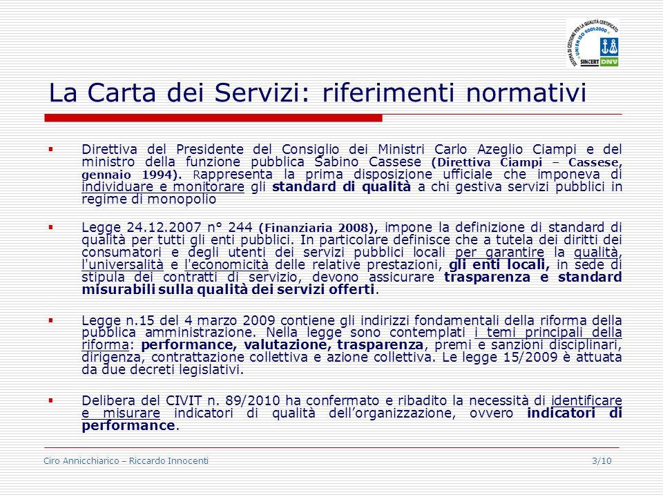 La Carta dei Servizi: riferimenti normativi