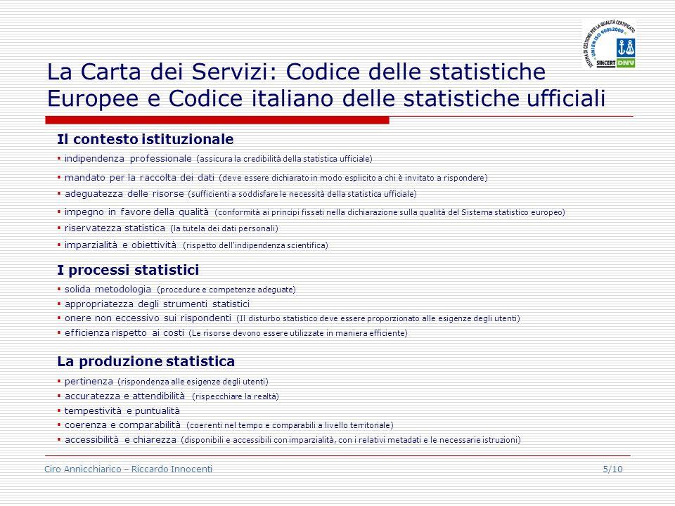 La Carta dei Servizi: Codice delle statistiche Europee e Codice italiano delle statistiche ufficiali