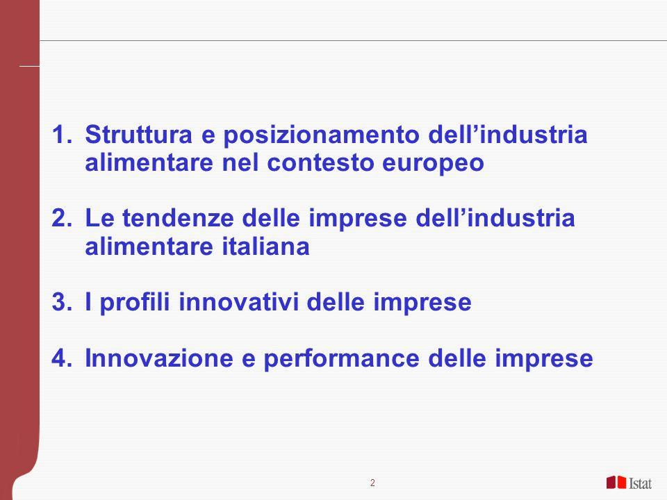 Struttura e posizionamento dell'industria alimentare nel contesto europeo