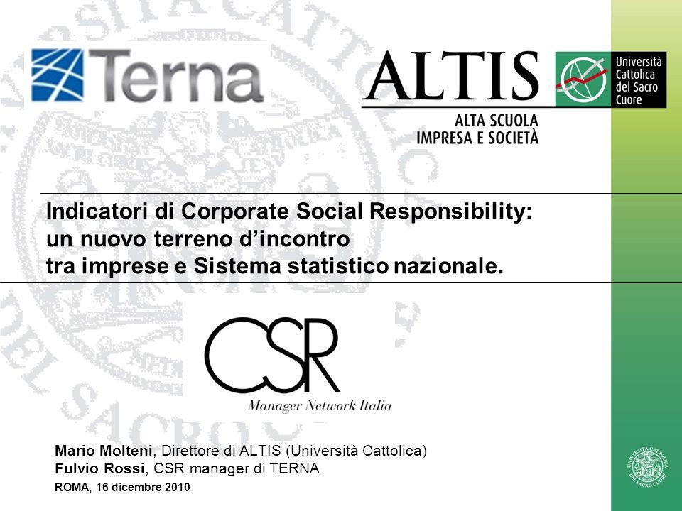 Indicatori di Corporate Social Responsibility: un nuovo terreno d'incontro tra imprese e Sistema statistico nazionale.
