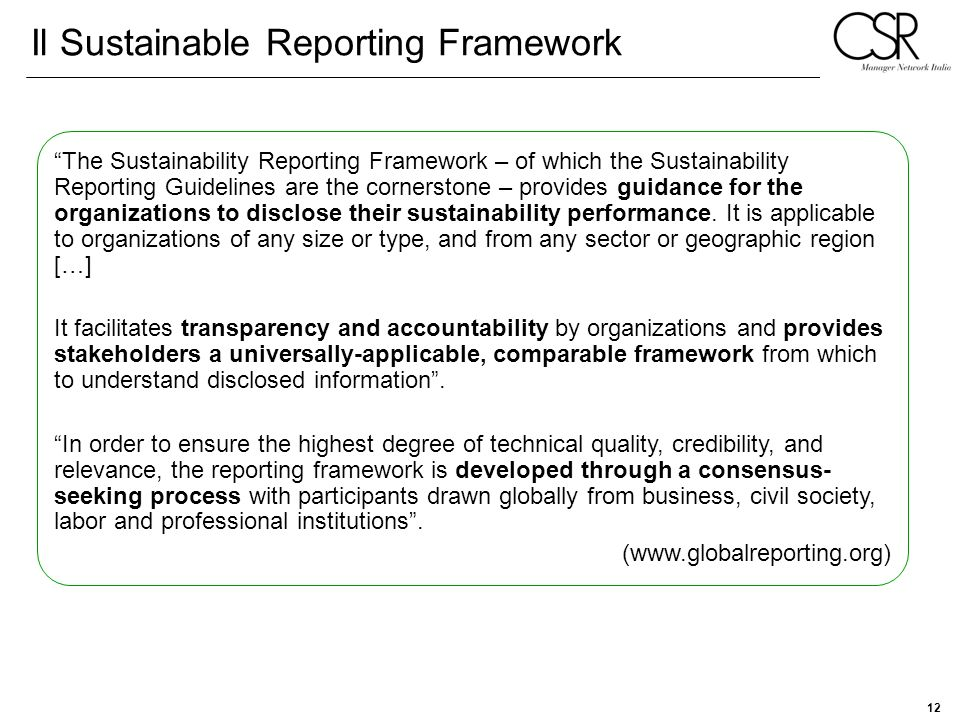 Il Sustainable Reporting Framework