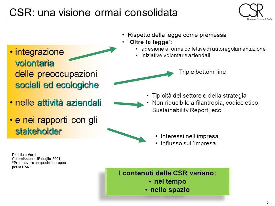 I contenuti della CSR variano: