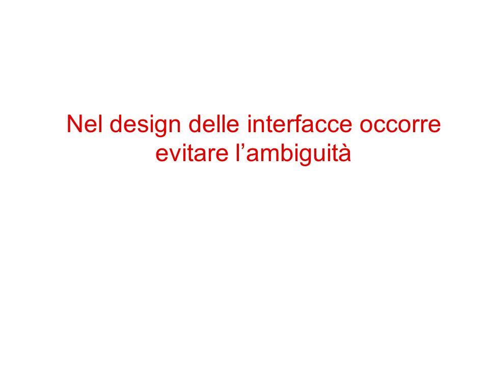 Nel design delle interfacce occorre evitare l'ambiguità