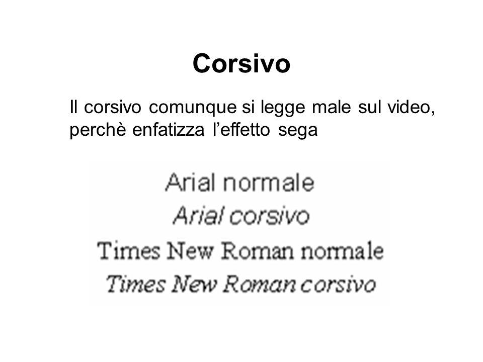 Corsivo Il corsivo comunque si legge male sul video, perchè enfatizza l'effetto sega