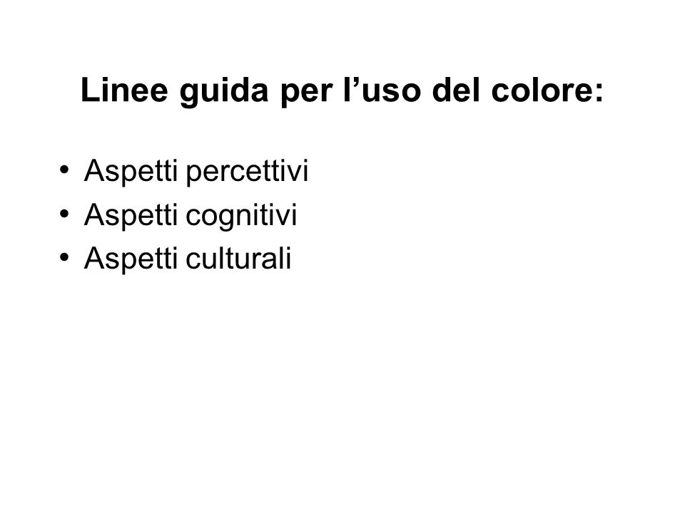 Linee guida per l'uso del colore: