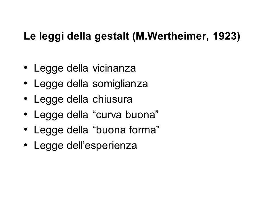 Le leggi della gestalt (M.Wertheimer, 1923)