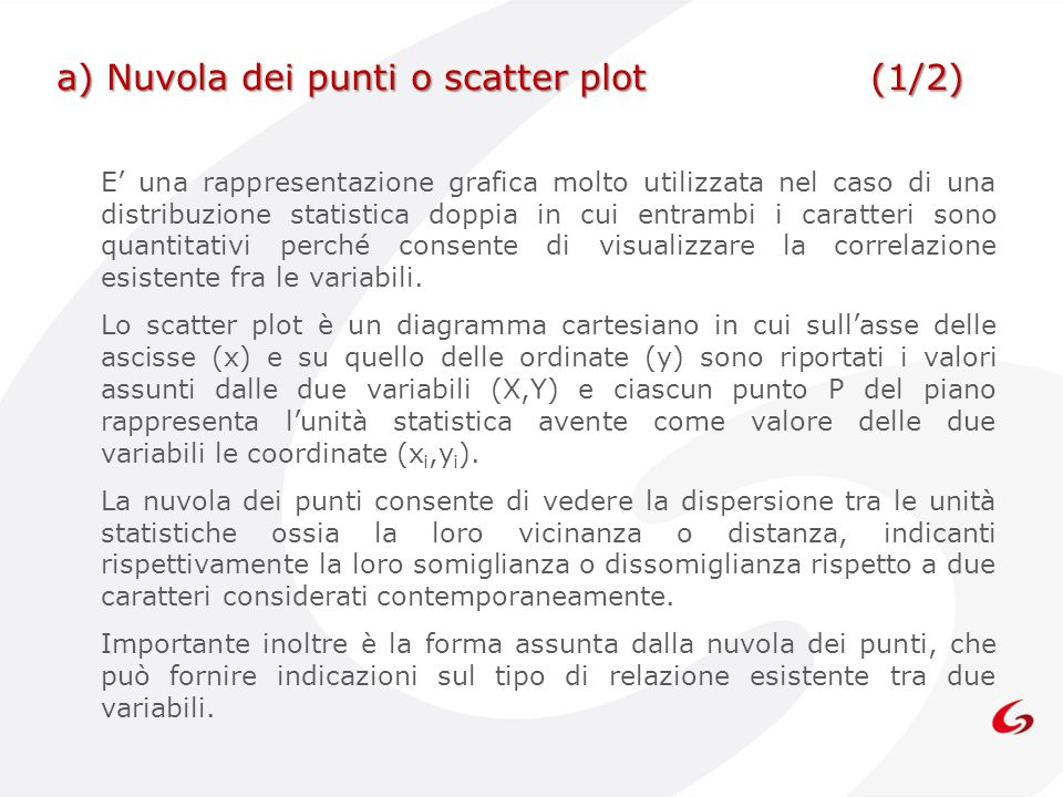 a) Nuvola dei punti o scatter plot (1/2)