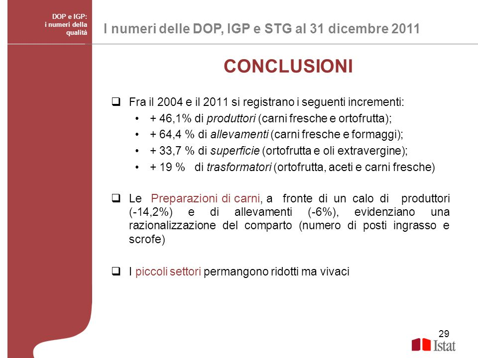 CONCLUSIONI I numeri delle DOP, IGP e STG al 31 dicembre 2011