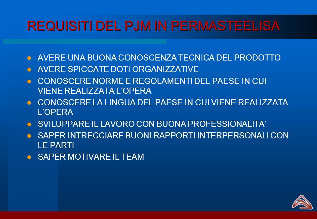 REQUISITI DEL PJM IN PERMASTEELISA